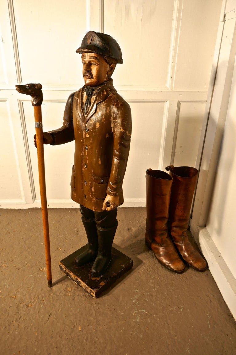 Charming 1920s Wooden Fireman Sculpture For Sale 2
