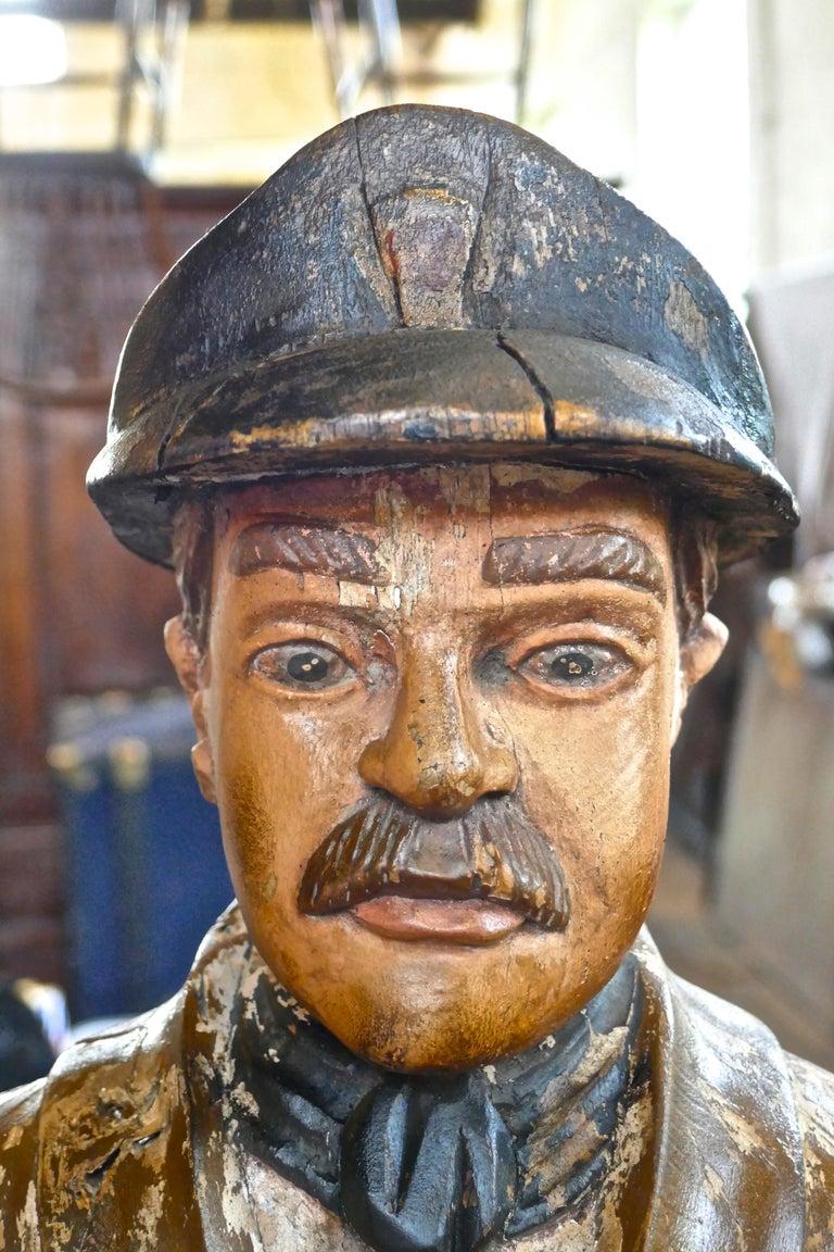 Charming 1920s Wooden Fireman Sculpture For Sale 3