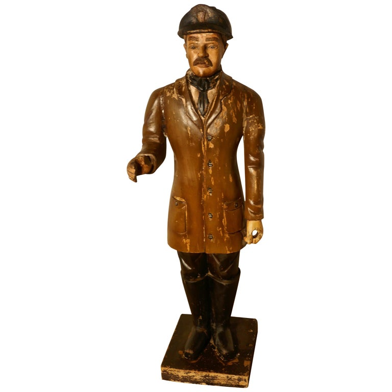 Charming 1920s Wooden Fireman Sculpture For Sale