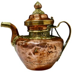 Charming 19th Century Indian Beaten Copper and Chased Brass Tea Pot