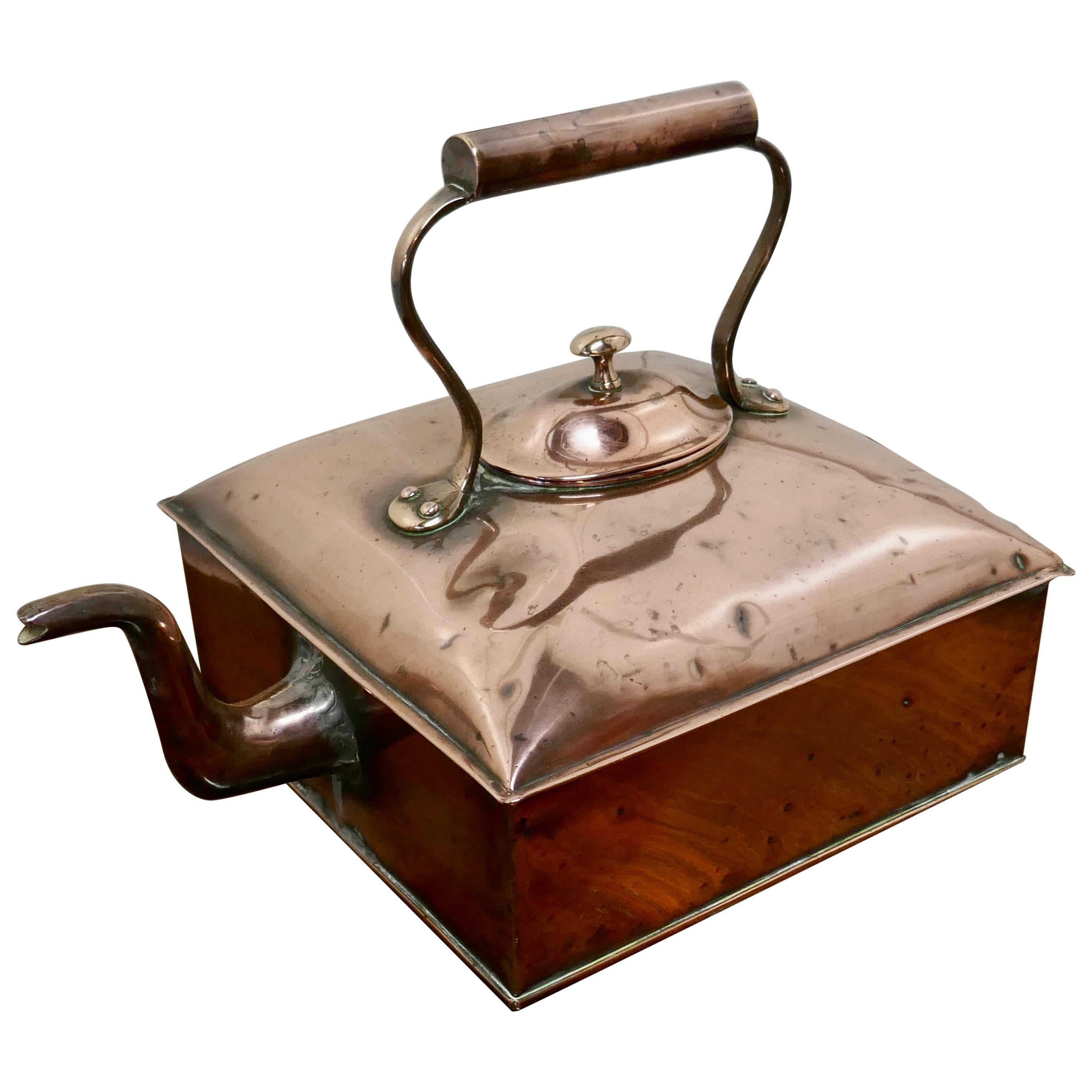 Charming 19th Century Large Square Copper Kettle