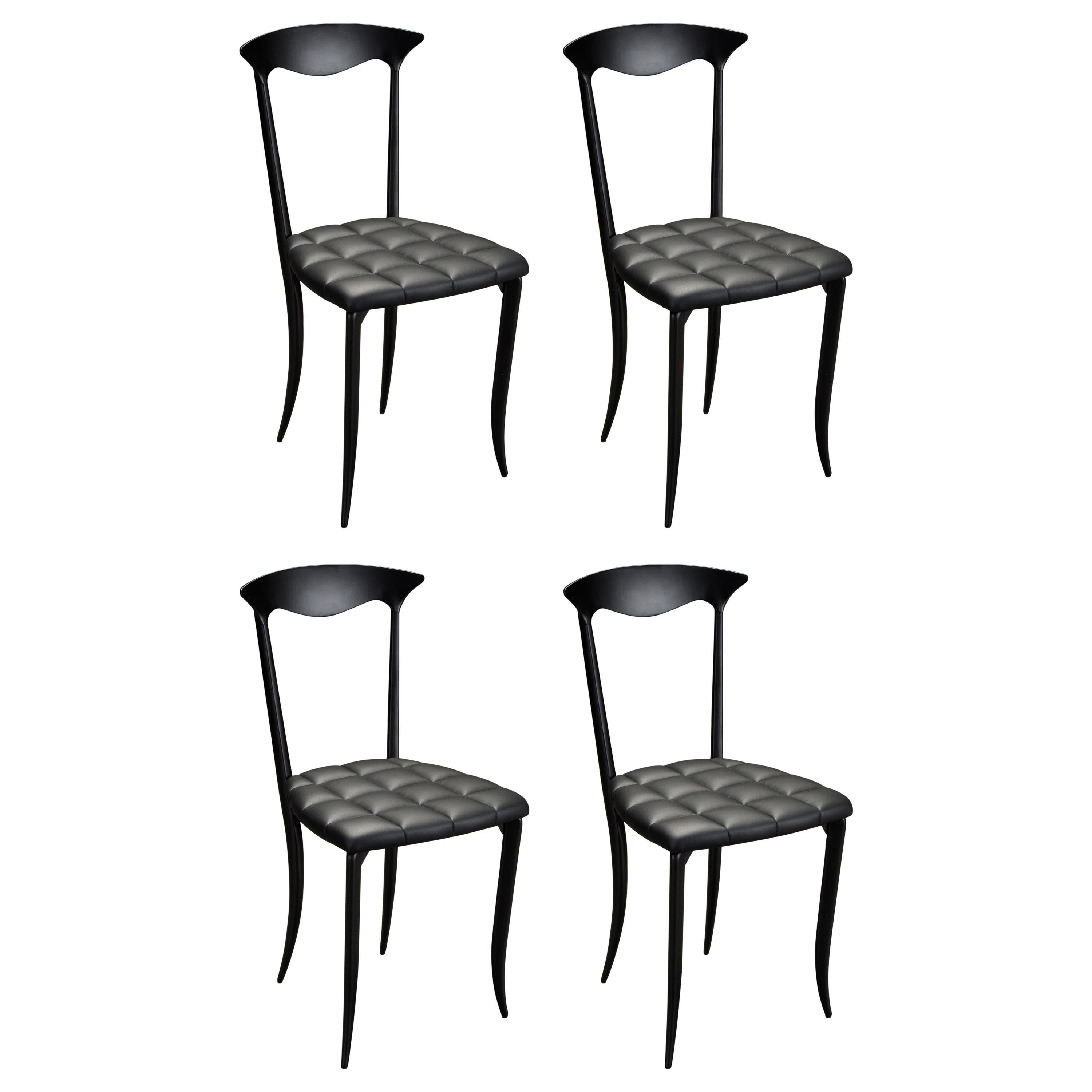 'Charming' Aluminum and Leather Dining Chairs by Fasem Italy, New