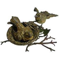 Charming Antique Austrian Cold Painted Bronze, Birds and Birds Nest, circa 1900