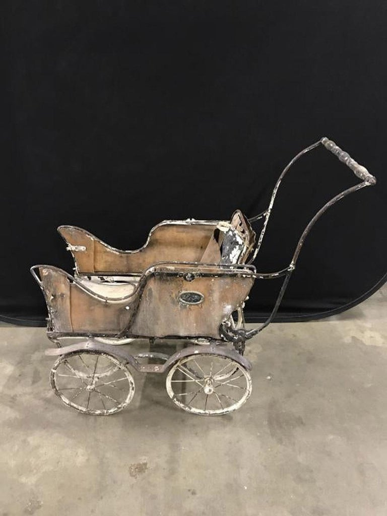 Charming Antique Baby Carriage Pram Stroller In Distressed Condition For Sale In Great Barrington, MA