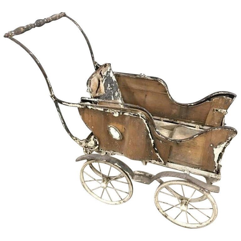 Charming Antique Baby Carriage Pram Stroller For Sale