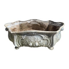 Charming Antique Enameled Iron French Planter Trough