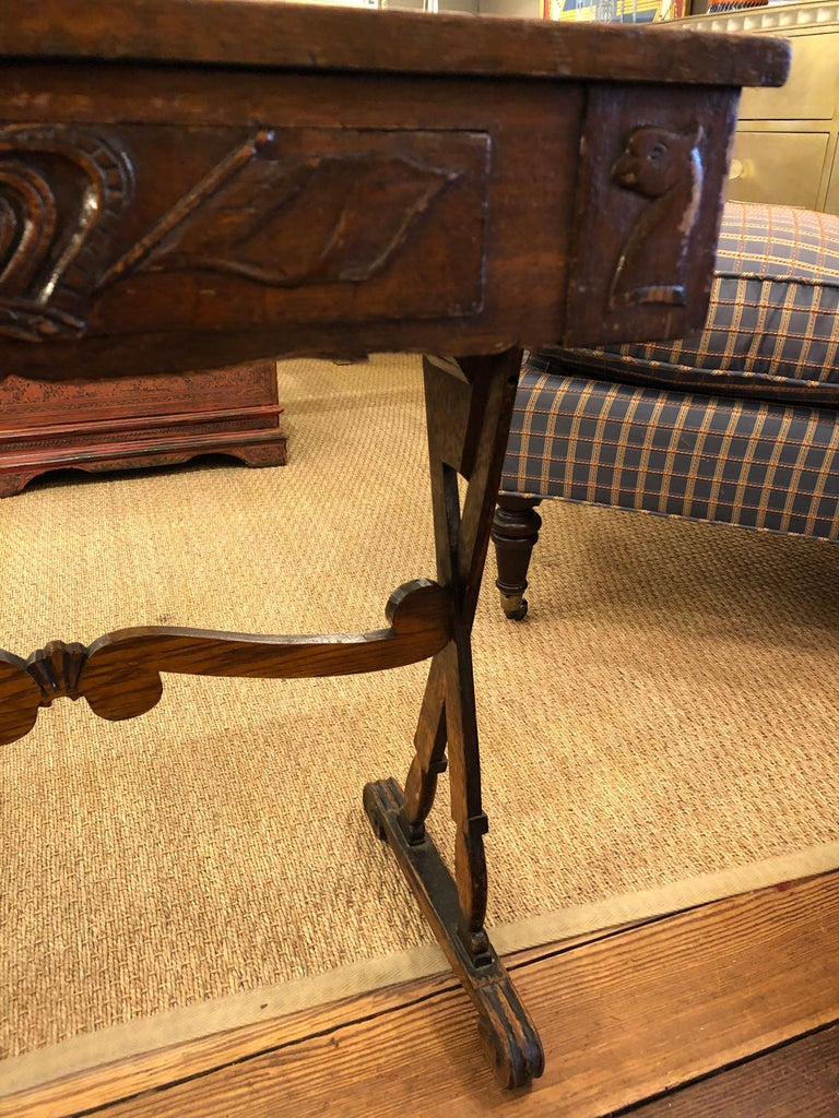 Charming Antique English Carved Oak End Table with Crown and Black Glass Top For Sale 6