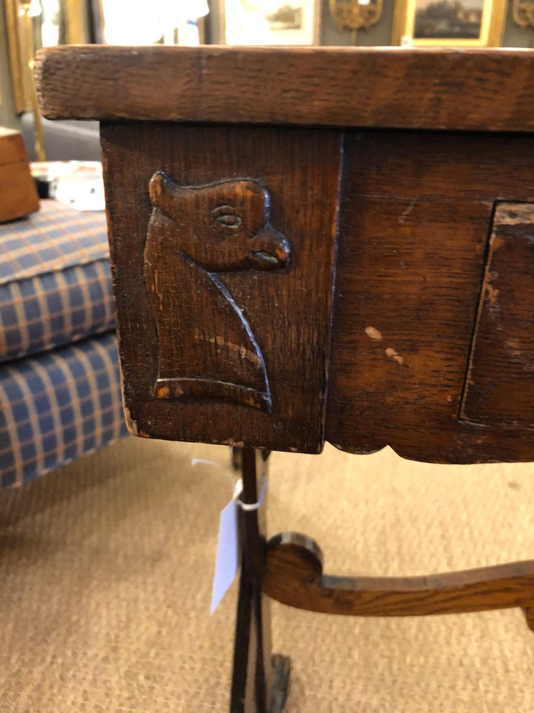 Charming Antique English Carved Oak End Table with Crown and Black Glass Top For Sale 9