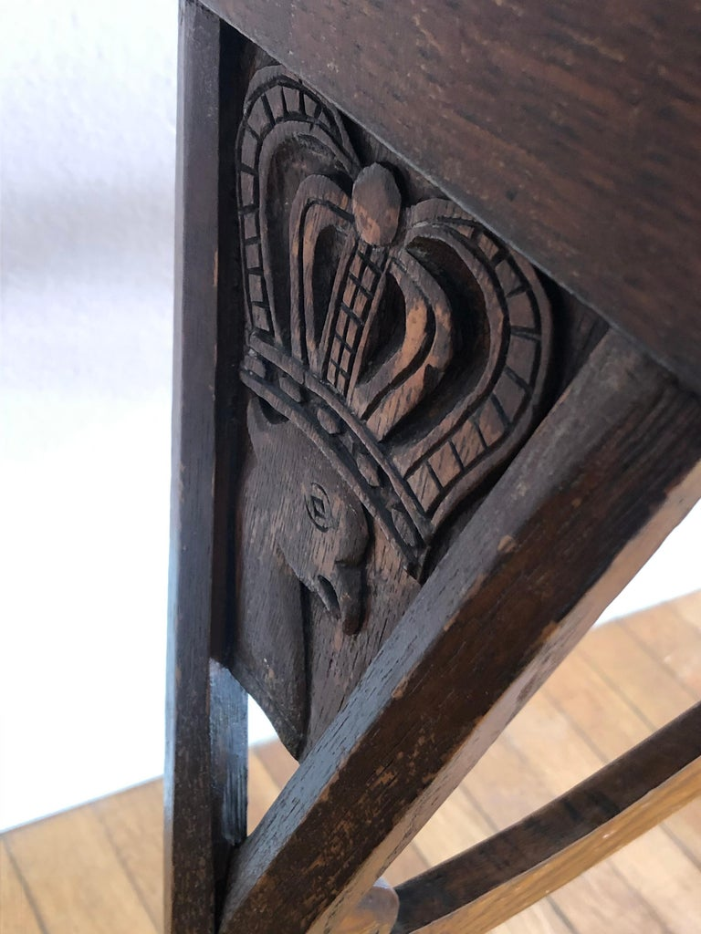 Charming Antique English Carved Oak End Table with Crown and Black Glass Top For Sale 11