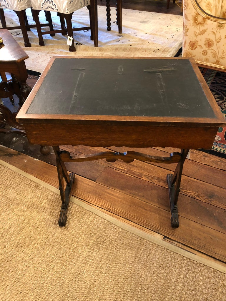 Charming Antique English Carved Oak End Table with Crown and Black Glass Top For Sale 12