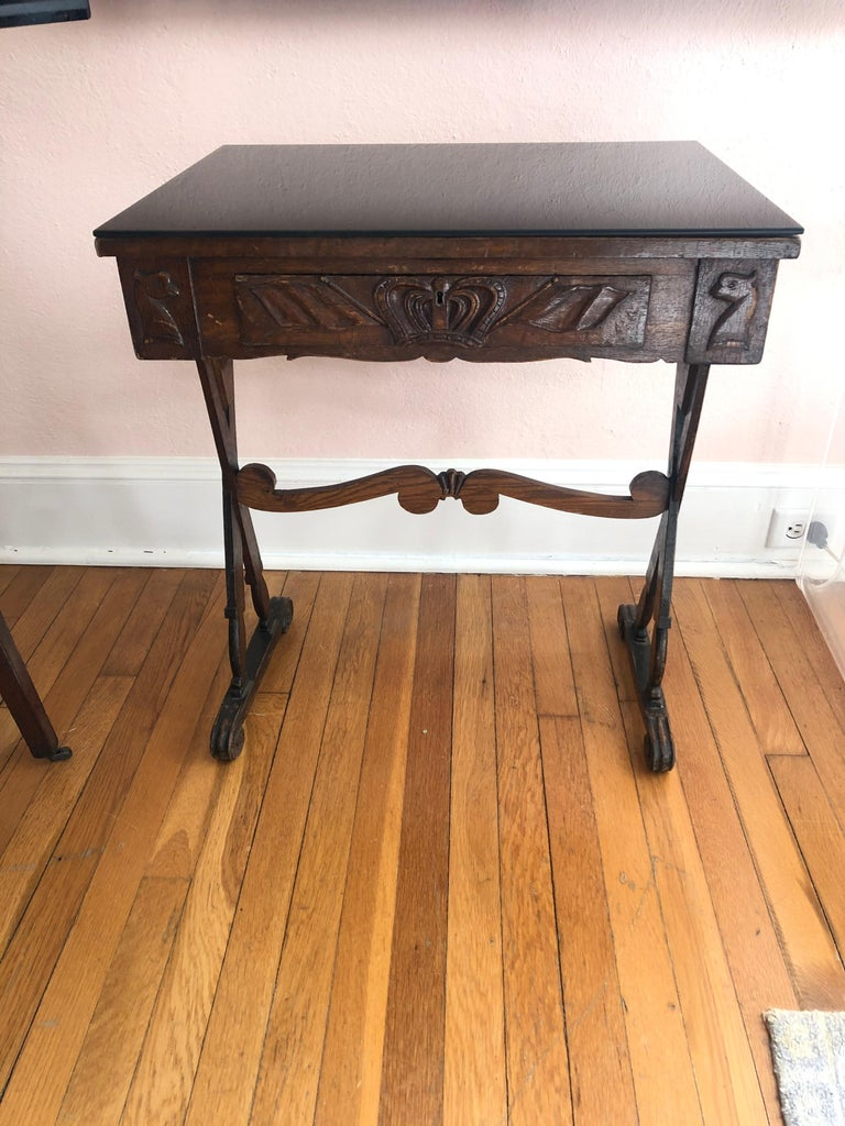 Campaign Charming Antique English Carved Oak End Table with Crown and Black Glass Top For Sale