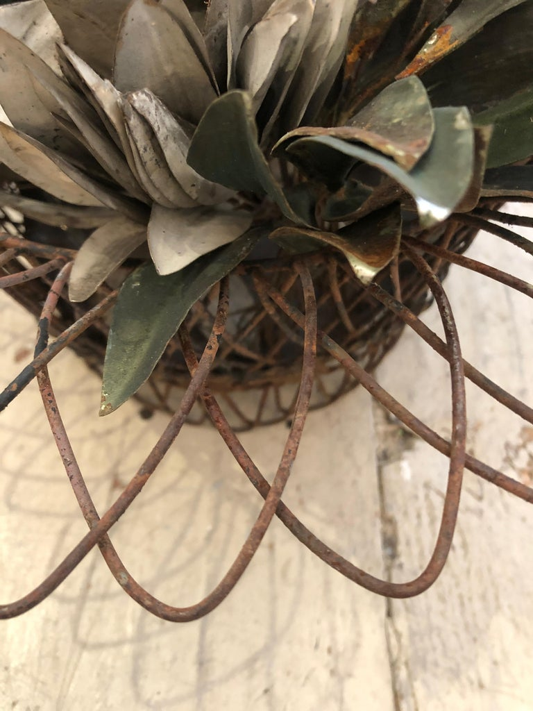 Metal Charming Antique French Wire Basket Planter with Decorative Tole Leaves For Sale