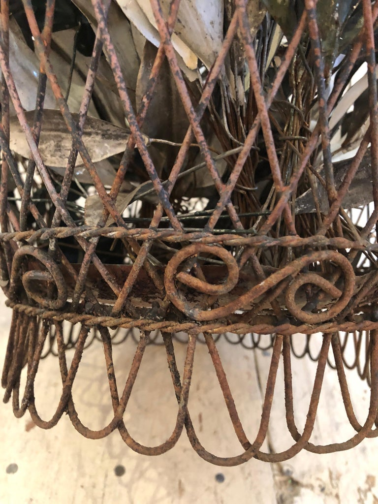 Charming Antique French Wire Basket Planter with Decorative Tole Leaves For Sale 1