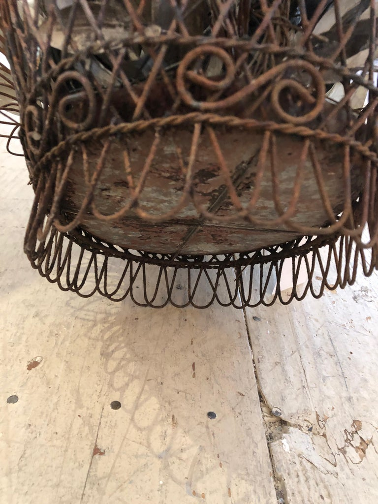 Charming Antique French Wire Basket Planter with Decorative Tole Leaves For Sale 2