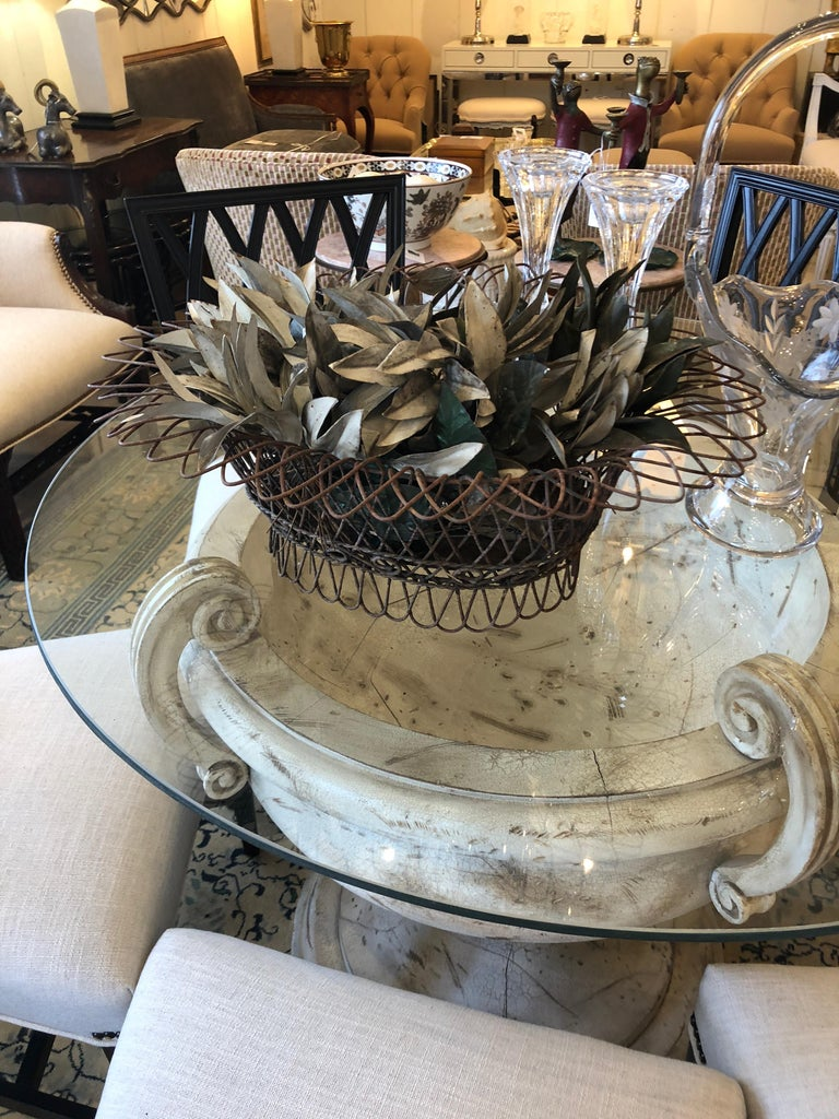 Charming Antique French Wire Basket Planter with Decorative Tole Leaves For Sale 3