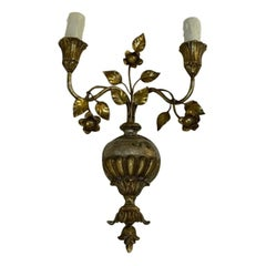 Charming Antique Gilded Sconce, Single