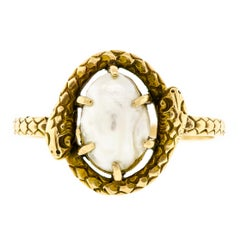 Charming Antique Pearl and Yellow Gold Double Snake Ring
