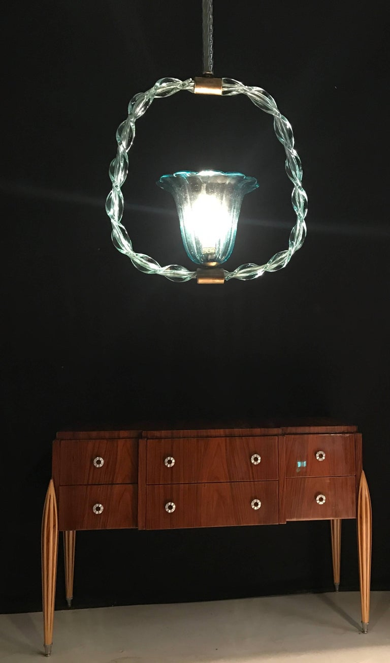 Art Deco Charming 'Aquamarine' Murano Glass Chandelier by Ercole Barovier, 1940s For Sale