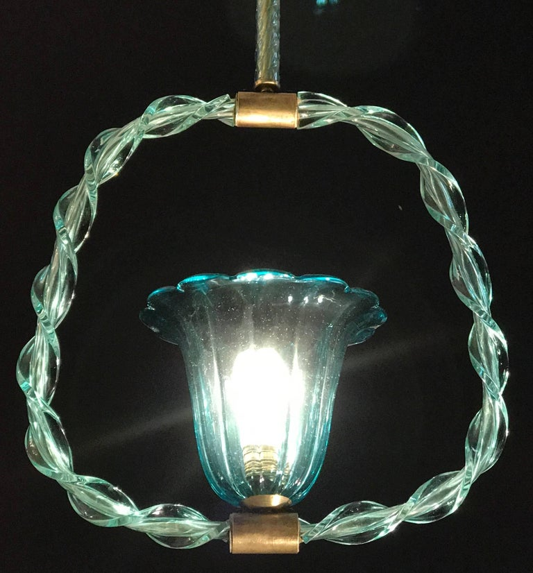 Blown Glass Charming 'Aquamarine' Murano Glass Chandelier by Ercole Barovier, 1940s For Sale