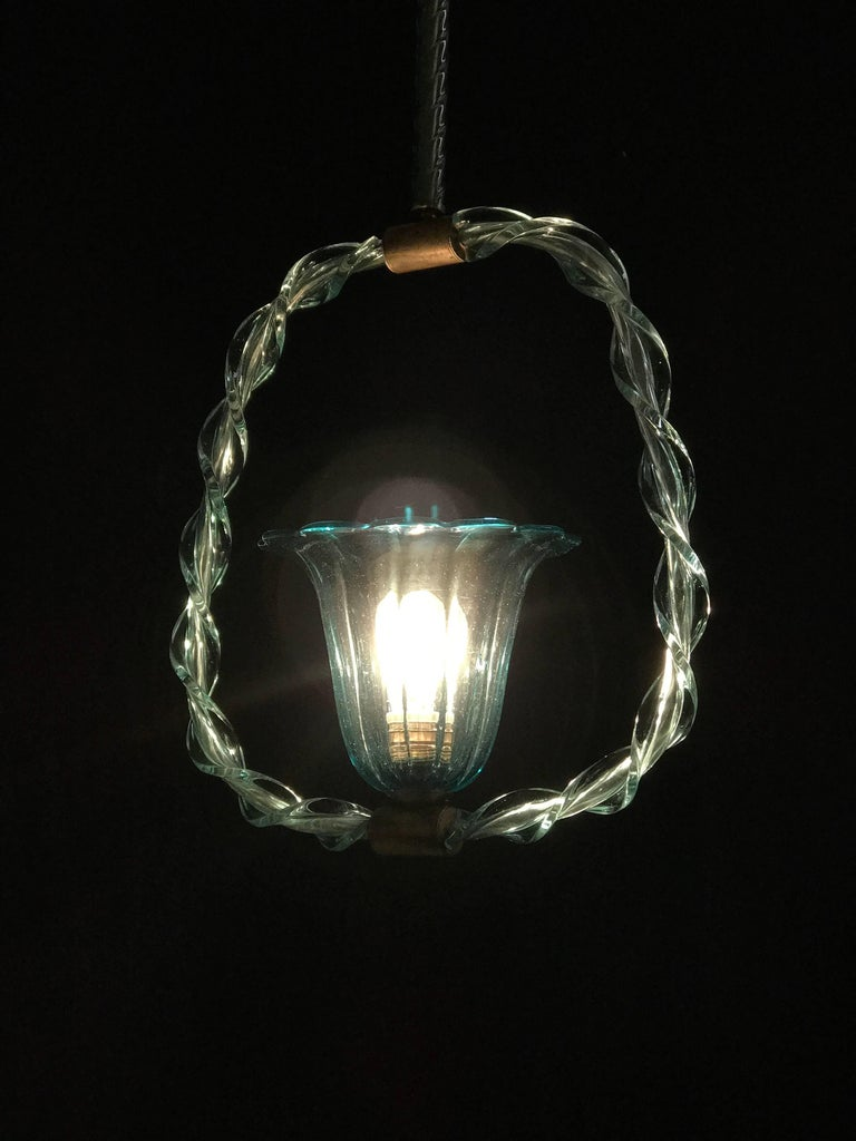 Charming 'Aquamarine' Murano Glass Lantern by Ercole Barovier, 1940s In Good Condition For Sale In Rome, IT