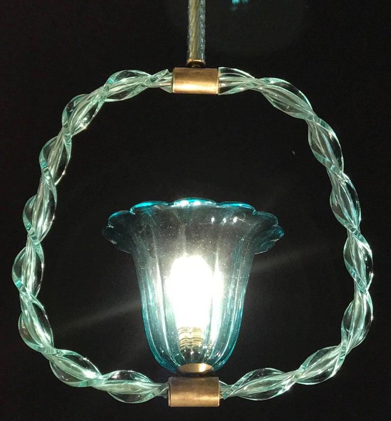 Charming 'Aquamarine' Murano Glass Lantern by Ercole Barovier, 1940s For Sale 1