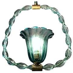 Charming 'Aquamarine' Murano Glass Lantern by Ercole Barovier, 1940s