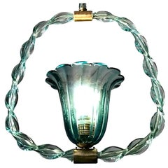 Charming 'Aquamarine' Murano Glass Lantern by Ercole Barovier, 1940s