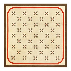 Charming Art Deco American Hooked Rug. Size: 7 ft 5 in x 7 ft 5 in
