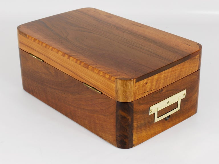 Charming Biedermeier Walnut Casket Box Jewelry Box with Brass, Austria, 1950s For Sale 5