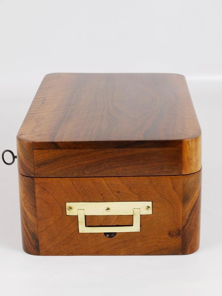 Charming Biedermeier Walnut Casket Box Jewelry Box with Brass, Austria, 1950s For Sale 6