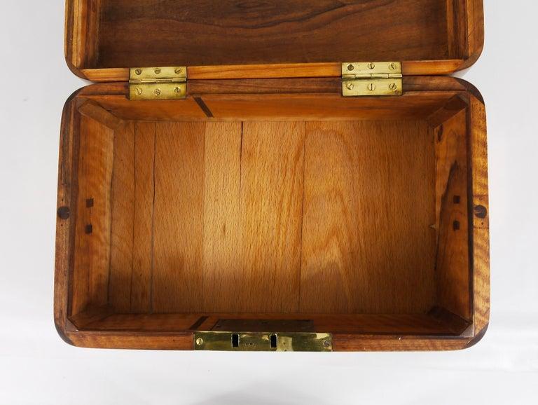 Charming Biedermeier Walnut Casket Box Jewelry Box with Brass, Austria, 1950s For Sale 7