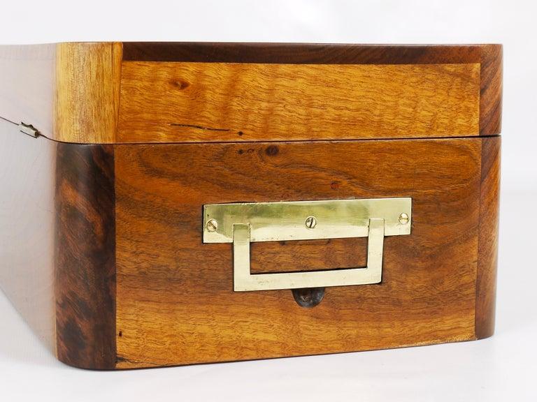 Charming Biedermeier Walnut Casket Box Jewelry Box with Brass, Austria, 1950s For Sale 8