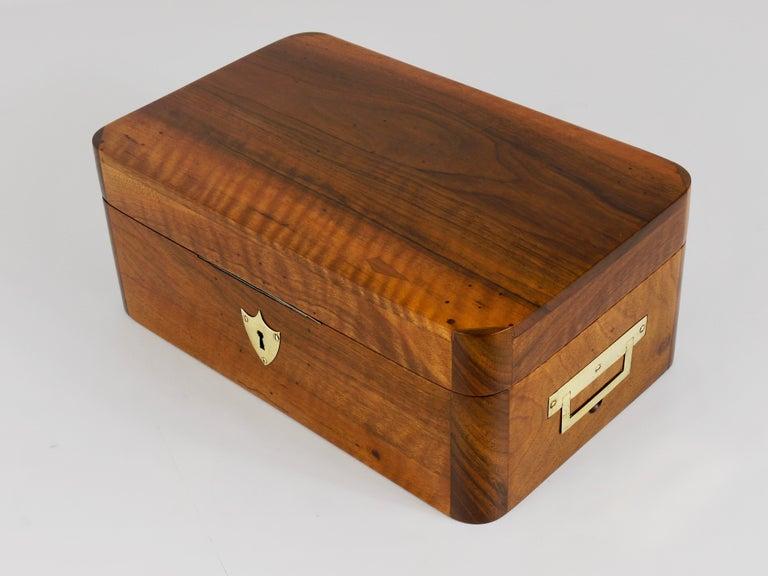 Charming Biedermeier Walnut Casket Box Jewelry Box with Brass, Austria, 1950s For Sale 11