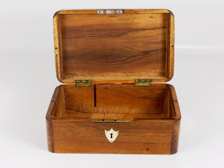 Charming Biedermeier Walnut Casket Box Jewelry Box with Brass, Austria, 1950s For Sale 12