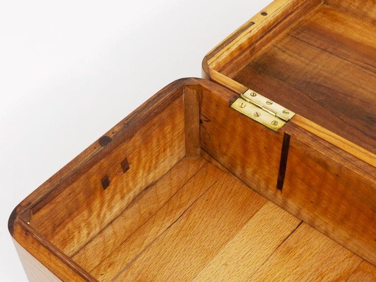 Charming Biedermeier Walnut Casket Box Jewelry Box with Brass, Austria, 1950s For Sale 13