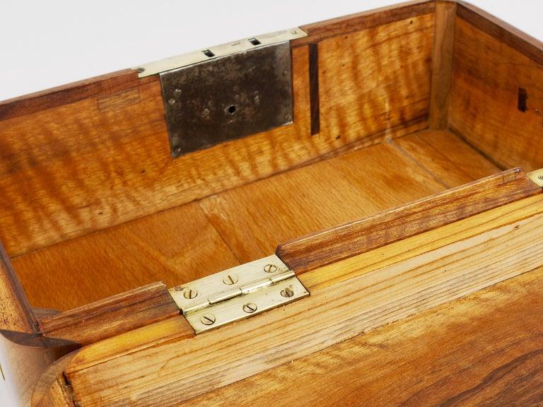 Charming Biedermeier Walnut Casket Box Jewelry Box with Brass, Austria, 1950s For Sale 14