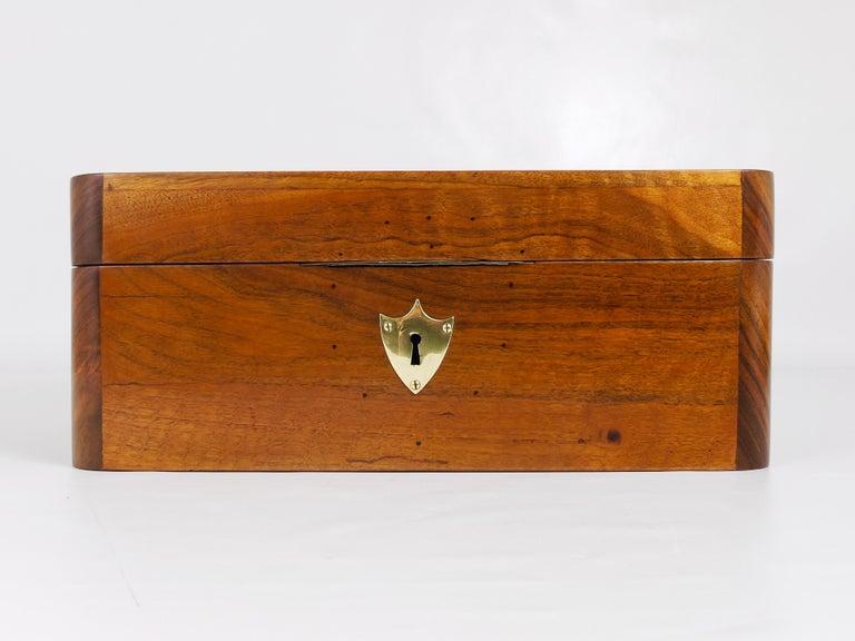 Austrian Charming Biedermeier Walnut Casket Box Jewelry Box with Brass, Austria, 1950s For Sale