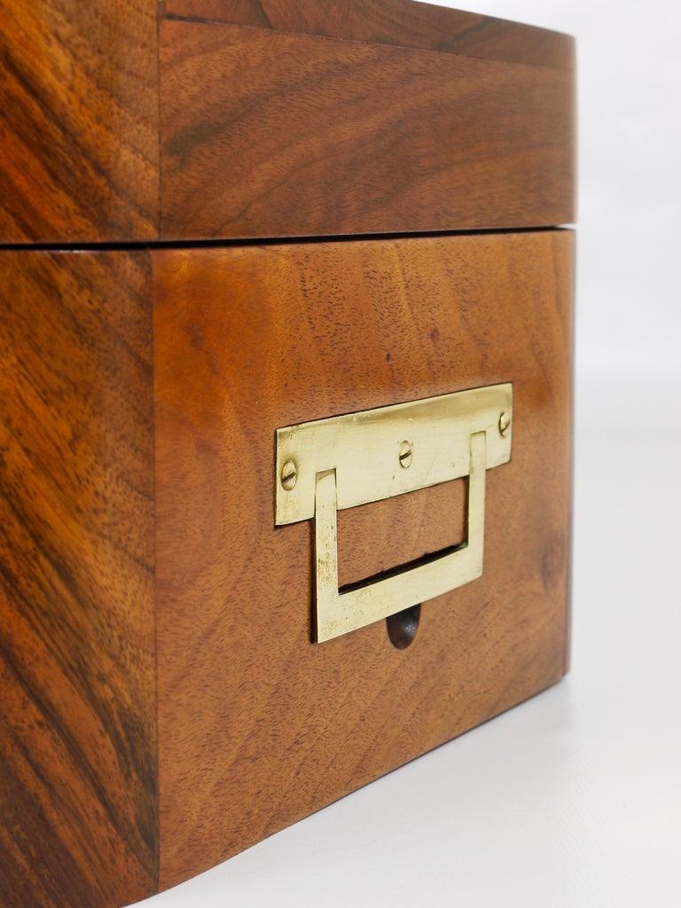 Mid-19th Century Charming Biedermeier Walnut Casket Box Jewelry Box with Brass, Austria, 1950s For Sale