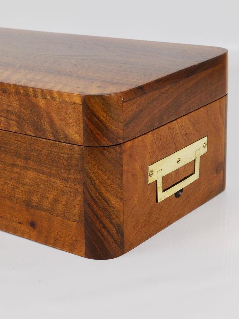 Charming Biedermeier Walnut Casket Box Jewelry Box with Brass, Austria, 1950s For Sale 1