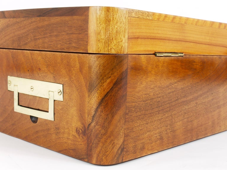 Charming Biedermeier Walnut Casket Box Jewelry Box with Brass, Austria, 1950s For Sale 2