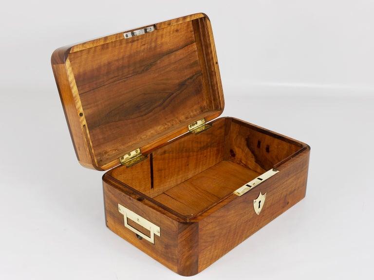 Charming Biedermeier Walnut Casket Box Jewelry Box with Brass, Austria, 1950s For Sale 3