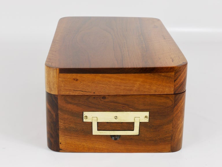 Charming Biedermeier Walnut Casket Box Jewelry Box with Brass, Austria, 1950s For Sale 4