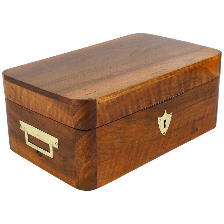 Charming Biedermeier Walnut Casket Box Jewelry Box with Brass, Austria, 1950s For Sale
