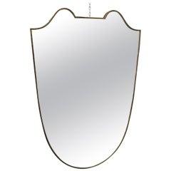 Charming Brass Midcentury Mirror Gio Ponti Style