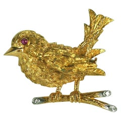 Charming Cartier Paris Textured Sparrow Brooch
