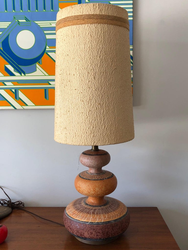 Charming Ceramic Gourd Lamp with Sgraffito Decoration For Sale 2