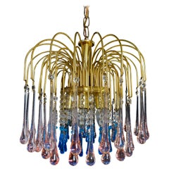 Charming Chandelier Blue and Pink Drops Glass, Murano, 1970s