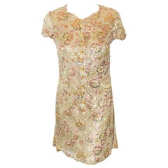 Charming Chanel Lace & Sequin Gold Tone Lace with Multi Color Sequin Flowers
