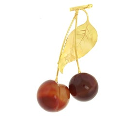 Charming Cherries and Gold Brooch