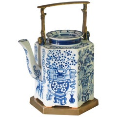 Charming Chinese Export Hexagonal Blue & White Teapot with Brass Handle & Tray